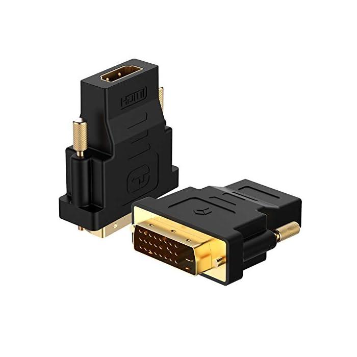 41tXvDyT1aL Haz clic aquí para comprobar si este producto es compatible con tu modelo No es compatible con 144Hz. El adaptador HDMI-DVI bidireccional es una gran solución para la conexión de un ordenador con puerto DVI a un monitor, HDTV o proyector con puerto HDMI, o desde un ordenador, reproductor de Blu-ray, receptor de TV o consola de juegos con HDMI puerto a un monitor con puerto DVI. Se requiere un cable HDMI (se vende por separado) Conveniente paquete de 2 HDMI a DVI (24+1) adaptadores para su uso en el hogar y continuar el camino para las conexiones de monitor oficina o proyector. Nota: compatibles con AMBOS DVI (24+5) hembra y DVI (24+1) hembra