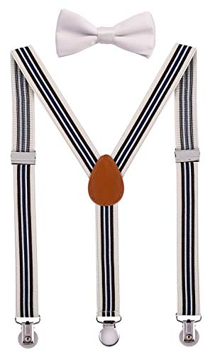 SUNNYTREE Boy's Suspenders Adjustable Y Back with Bow Tie Set 40 inches Beige Stripe