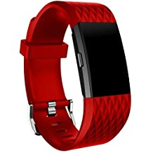Fitbit Charge 2 Watch Band, ABC® Luxury New Fashion Sports Bracelet Watch Band Strap for Fitbit Charge 2 (Large) (Red)
