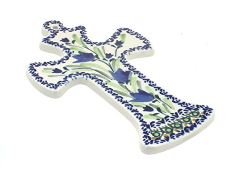 Polish Pottery Blue Tulip Cross ()