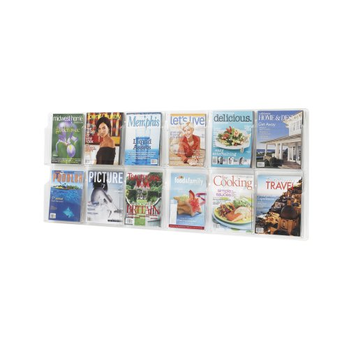 Safco Plastic Literature Display, 12 Magazines, 60 Inches Width x 24.5 Inches Height, Clear (5614CL), Office Central
