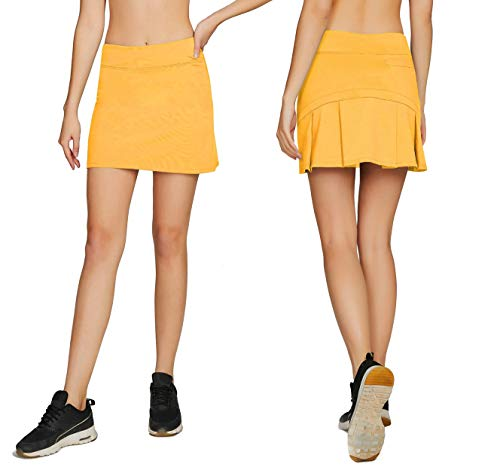(Women's Casual Pleated Tennis Golf Skirt with Underneath Shorts Running Skorts yl s Yellow)