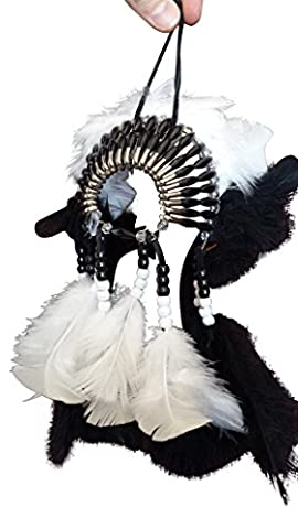 Mini Headdress Hanging Ornament - Authentic USA Cherokee Indian Made - Native American Rear View Mirror Accessory (Black & - Native American Indian Feathers