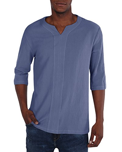 Makkrom Mens Linen T Shirts Long Sleeve Button Down Summer Beach Henley Tops (Large, 2-Grey) (Dye Wash)