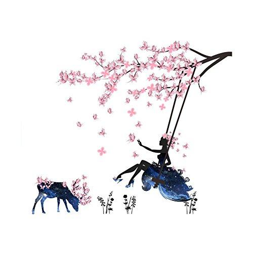 Elk Blossom - Fangeplus(R)DIY Removable Tree Branch Blooming Plum Blossom Swing Flower Fairyorest Elk Mural Art Vinyl Waterproof Wall Sticker Kids Room Decor Nursery Decal Wallpaper39.3''x47.2''