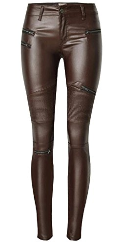 89556f4fabf1c Ecupper Ladies Faux Leather Look Trousers Biker Leggings Stretch Coated Skinny  Jeans Coffee L-40