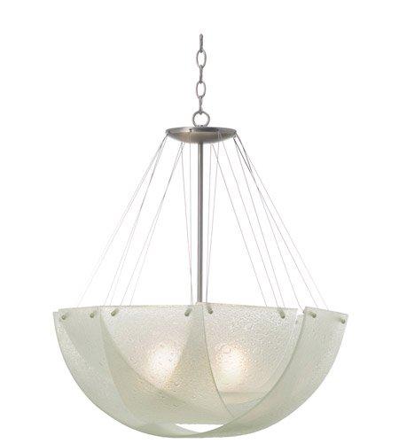 Cirrus Glass Bowl - Kalco 5098SN Cirrus 3 Light Bowl Pendant, Satin Nickel