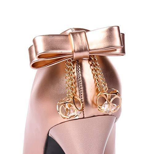 Luccichio AllhqFashion Oro FBUIDD005825 Tacco Puro Tirare Ballet Donna Alto Flats qvvpan
