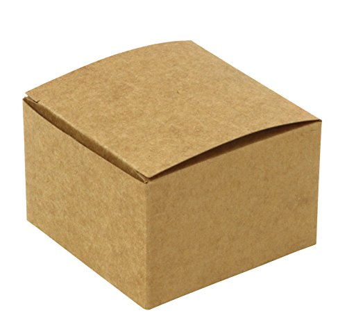 Iconikal 3 x 3 x 2-inch Gift Or Favor Box, Kraft Brown, 100-Count]()