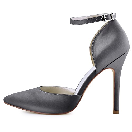 Dress Elegantpark Grey Women's Satin Pumps Ankle Toe Strap Steel High Heel D'Orsay Pointed rrCwnzqA