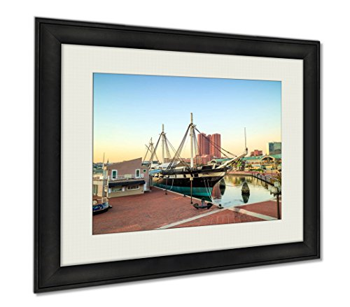 Ashley Framed Prints Inner Harbor Area In Downtown Baltimore, Wall Art Home Decoration, Color, 34x40 (frame size), - In Harbor Baltimore Inner Shops
