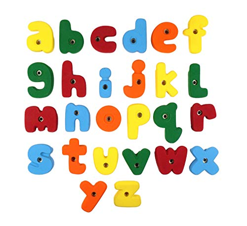 Alphabet Climbing Holds - Medium Bolt On Alphabet ABC Set (Full Set Of Letter Shaped Holds A Through Z) l Climbing Holds l Mixed Bright Tones