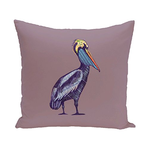 E by design O5PAN463PU14-20 20 x 20 Sea Music Animal Print Purple Outdoor Pillow by E by design