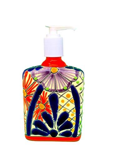 Mexican Kitchen - Casa Fiesta Designs Talavera Ceramic Soap & Lotion Dispenser, for Kitchen or Bathroom Countertops - Hand Painted Mexican Pottery - Jabonera (Multicolor)