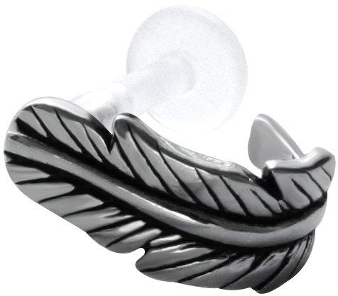 Feather Tragus Earring Cuff-BioPlastic Labret Stud-Push In Cartilage Earring Cuff -18 gauge