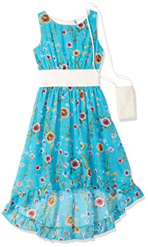 Beautees Girls' Big Lace Dress, Jade, 12