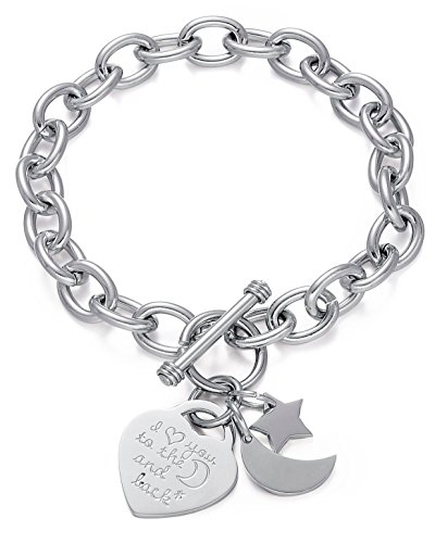 Stainless Steel Charm Toggle Bracelet-