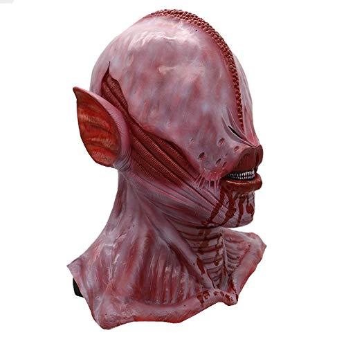 Horror Alien Red Mask Latex Brain Halloween Costume Space Prop ()