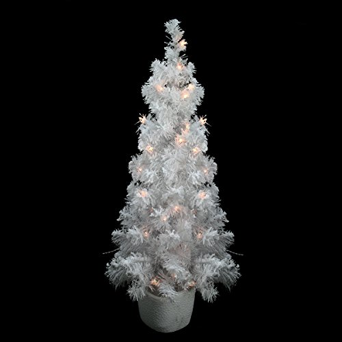 Northlight Pre-Lit Potted Flocked White Tinsel Artificial Christmas Tree with Clear Lights, 3.5' x 18'' ()