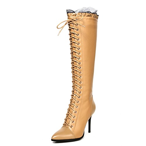 JIAME Womens Knee High Pointed Toe Boots Stiletto Heels Sexy Bud Silk Lace Up Lady Shoes Apricot aMDHA