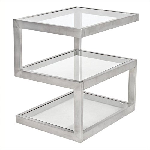 WOYBR TB-5S SS Stainless Steel, Glass 5S End Table (Lumisource Modern Table)