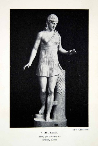 1925 Print Statue Girl Woman Racer Sport Sculpture Costume Fashion Greek Drapery - Original Halftone (Greek Sculpture Costume)