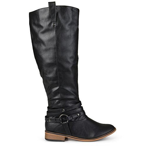 Brinley Co Women's Bailey-Xwc Riding Boot, Black Extra Wide Calf, 7.5 M US
