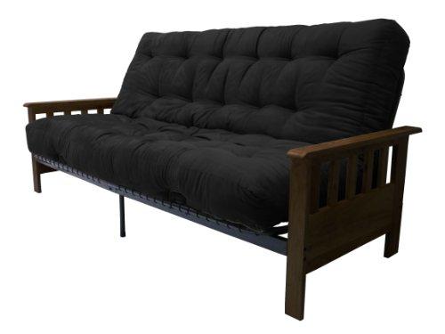 Portland 10-Inch Inner Spring Futon Sofa/Sleeper Bed, Full, Walnut Arms Suede Ebony Black - Stores Premium Portland Outlet