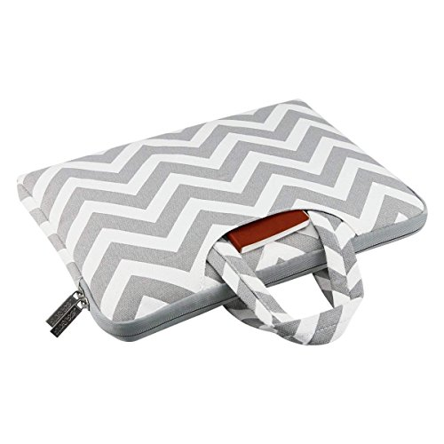 MOSISO Laptop Briefcase Handbag Compatible 13-13.3 Inch MacBook Pro, MacBook Air, Notebook Computer, Chevron Style Canvas Fabric Carrying Sleeve Case Cover Bag, Gray by MOSISO (Image #4)