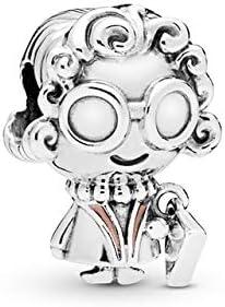 ZDJDMZ Mode Pendentif Perles 2 Pcs//Lot Argent Perles Charme Rose /Émail Aux Cheveux Boucl/és Surdimensionn/é Lunettes Grand-M/ère Perles Fit Bracelet DIY Bijoux