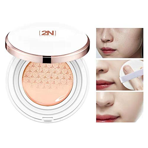 2 Pcs Snow Innocent Makeup BB Cream Breathing Soothing Cushion for Shrinking Pores, Moisturizing, Concealing Spot, Brighten Skin Tone and Lifting Skin Texture (Ivory)