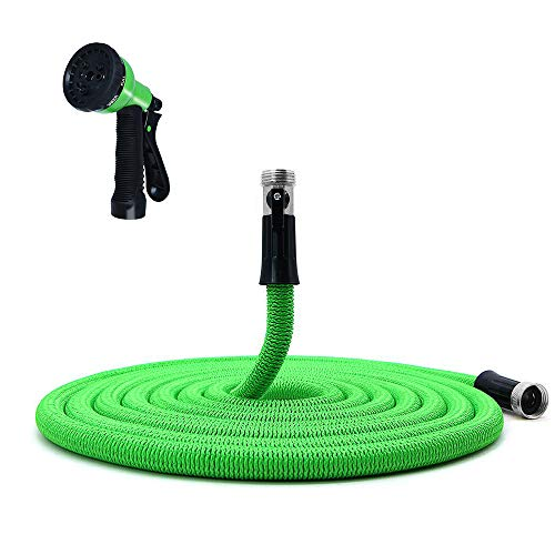 Expandable Garden Hose 100ft, Water Garden Hose Flexible and Kink-Free with Practial 8 Function Spray Nozzle, Expandable Water Hose with Shut Off Valve and Double Latex Core (Green)