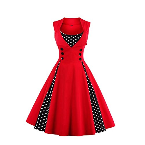 Dear-Queen Modest Halloween Costumes 1950s Inspired Vintage Cocktail Casual Dress -