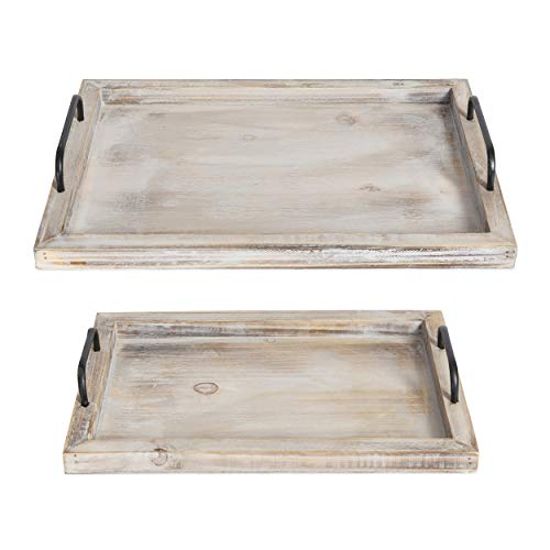 "Besti Rustic Vintage Food Serving Trays (Set of 2) | Brown Whitewashed Nesting Wooden Board with Metal Handles | Stylish Farmhouse Decor Serving Platters | Large: 15 x2 x11"" - Small: 13 x2 x9"" inches"