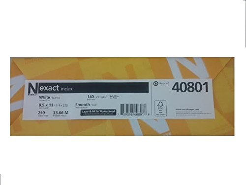 250 Sheet Pack (Exact Index Smooth, 8.5 X 11 inch, White Heavyweight Cardstock Paper - 140lb Index- 250 Sheets/pack)