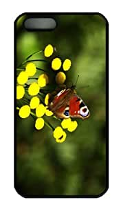 iPhone 5S Case - Customized Unique Design Red Butterfly New Fashion PC Black Hard