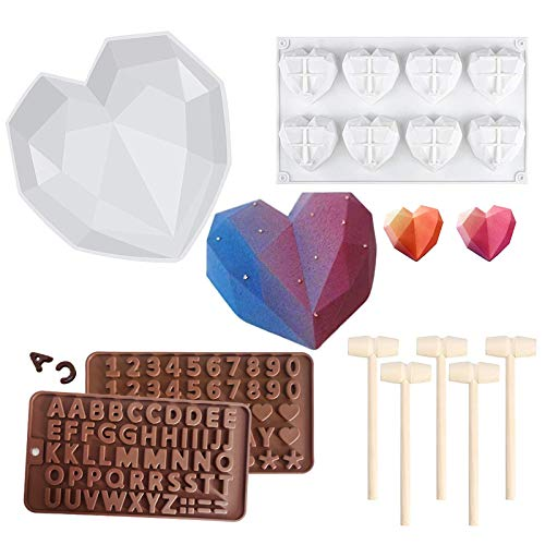 Diamond Heart Shaped Cake Mold Trays Kit, Silicone Chocolate Heart Mold with 5 Pieces Wooden Hammers, Non-Sticky Dessert Cookie Mould for Birthday, Valentine Candy, Chocolate Making
