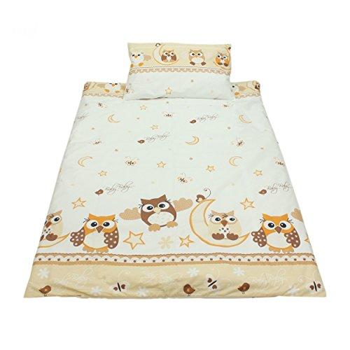 Kinderbettwäsche 100x135 Bettgarnitur Baby Bettwäsche 2 tlg. Bettset 100% Baumwolle Eulen- Bärchenmotiv, Farbe: Eulen 2 Beige, Größe: 135x100 cm
