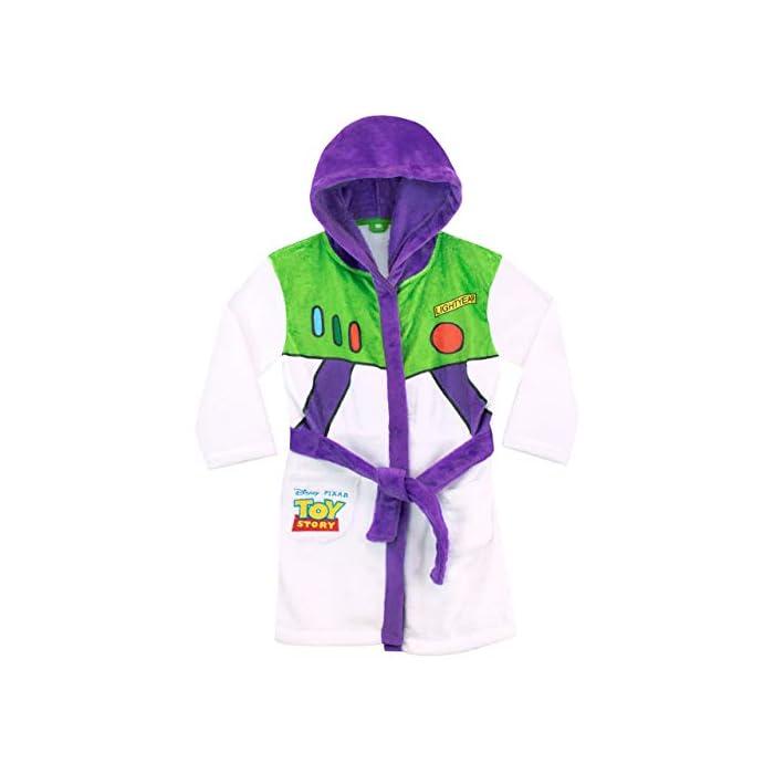 41tY IpbmsL Bata para niños de Toy Story. Para que te parezcas al guardián espacial Buzz Lightyear, esta bata de baño viene con el diseño de su uniforme. 100% Poliéster