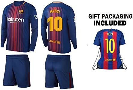 competitive price 2392d 3dc7f Messi #10 Barcelona jersey Youth 3 in 1 Soccer Gift Set for kids ✓ Long  sleeve Soccer Jersey ✓ Shorts ✓ Jersey Drawstring Bag ✓ Lionel Messi Leo  Barca ...