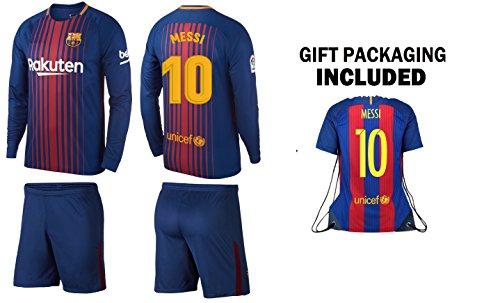 JerzeHero Barca Messi #10 Kids Youth 3 in 1 Soccer Gift Set ✓ Soccer Jersey ✓ Shorts ✓Jersey Drawstring Bag ✓ Home Long Sleeve (YM 8-10 yrs, Home Long Sleeve) - 1 Youth Football Jersey