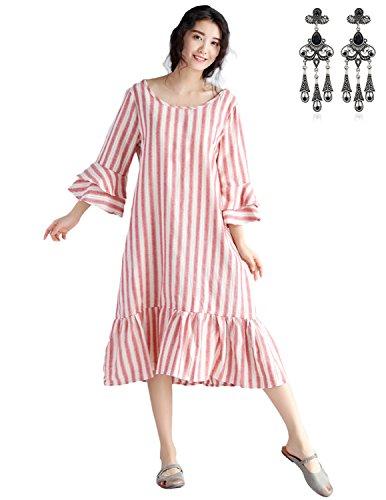 MODETREND Mujer Vestido Vintage Retro 1950'S Volantes Elegante Coctel Partido Vestido de Algodón Lino Largo Dress Tallas Grandes Rojo