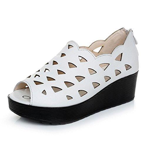 spring Sandales Forty En Semelles Khskx Creux Bouche Plate Forme Respirable Épaisses Chaussures Poisson Hole Cuir Des À De dxwwYTBq