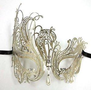Gold Rhinestone Swan Laser Cut Venetian Mask Masquerade Metal (Cheap Masquerade Masks In Bulk)