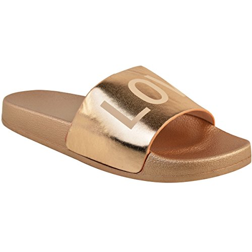 Fashion Thirsty Womens Flat Casual Sliders Peace Love Sandals Summer Shoes Size Rose Gold Metallic / Love 4h2Kii5Tg