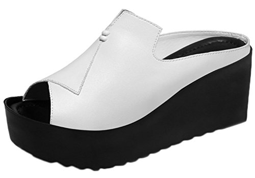 Naughty Farm Girl Costume (Passionow Women's Summer Fashion New Open Toe Platform Wedge Heel Slip-on PU Sandal Shoes (7.5 B(M)US,White))