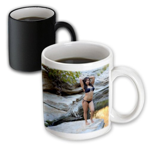 3dRose mug_158258_3 Young Hispanic Woman with Bikini Near a Creek Vacation, Female, Girl, Sexy, Exotic, Latina, Erotic Magic Transforming Mug, 11 oz, Black/White