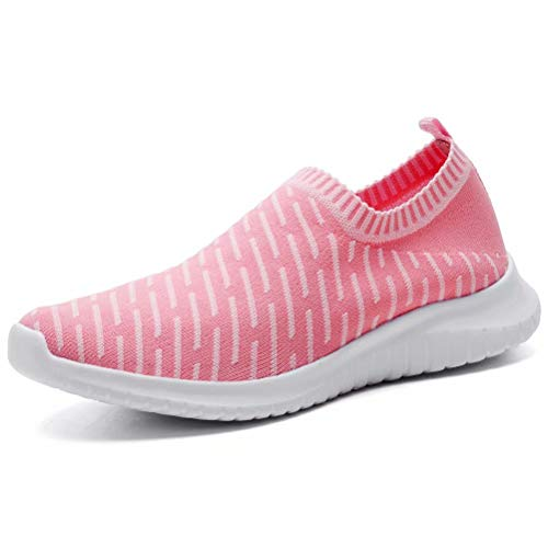 konhill Women's Athletic Walking Shoes - Breathable Casual Tennis Slip on Sneakers, Pink, 44