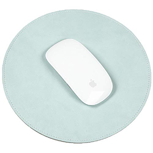 Round Leather Mouse Pad - ABRONDA Round PU Pad Mat Smooth Waterproof Surface Non-Slip Noiseless for Magic Mouse Mice Wired/Wireless Bluetooth Mouse- Mint Green