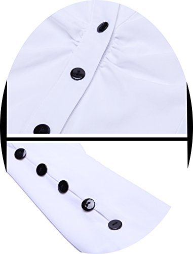 MISS MOLY Women's White Button Down Shirt V Neck Collar Puff Sleeve Office M by MISS MOLY (Image #6)'